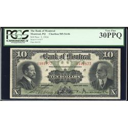 Bank of Montreal $10, 1914, ms. Signature
