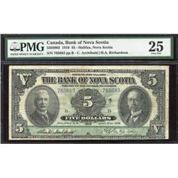 The Bank of Nova Scotia $5, 1918