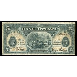 Bank of Ottawa $5, 1913