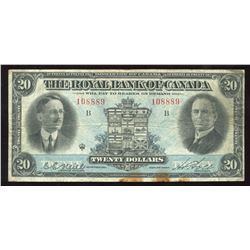The Royal Bank of Canada, $20, 1927, Typed Neill