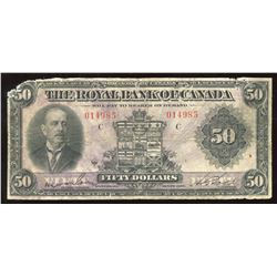 The Royal Bank of Canada, $50, 1927, Typed Wilson