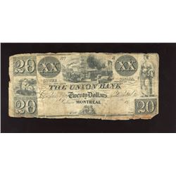 The Union Bank; Lower Canada $20, 18xx