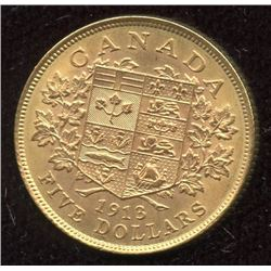 1913 Canadian $5 Gold