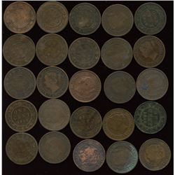 1859 Large Cent - Lot of 25 Province of Canada One Cent