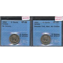 1953 & 1954 Five Cents - CCCS Graded