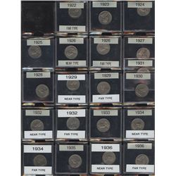 Canadian Five Cents Collection - Including Key Dates