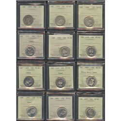Canada Twenty-Five Cents - Lot of 55 ICCS Graded Coins