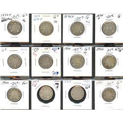 Victorian Twenty-Five Cents - Lot of 12
