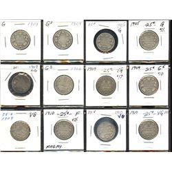 Edward VII Twenty-Five Cents - Lot of 12