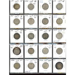 Collection of George V Twenty-Five Cents - Lot of 20