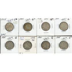 Dealer lot Twenty-Five Cents Desirable Dates - Lot of 8.