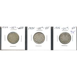 Short set of nice George V Twenty-Five Cents - Lot of 3