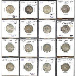 Set of 16 George VI Twenty-Five Cents