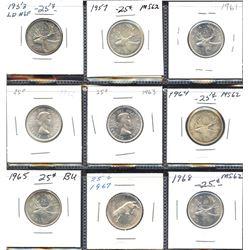 Set of 9 mint state Elizabeth II silver Twenty-Five Cents