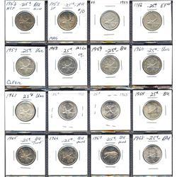 Set of 16 Elizabeth II silver 25c, all different dates, 1953-1968