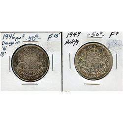 Pair of George VI 50c varieties: 1946 Hoof/6 and 1949 Hoof/9