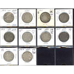 Edward VII and George V 50c - Lot of 10