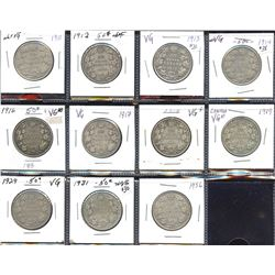 George V 50c, 1911 to 1936 - Lot of 11