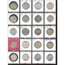 Collection of silver 50c coins, 1937 to 1963, - Lot of 20
