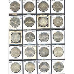 Elizabeth II silver dollar collection: 1953 to 1966 - Lot of 20