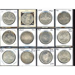 Elizabeth II silver dollar short set: 1957 to 1966 - Lot of 12