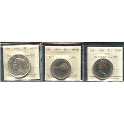 Canada - Lot of 3 ICCS Graded Dollars
