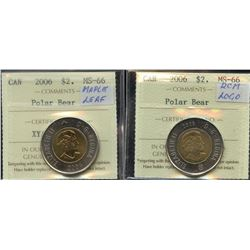 2006 $2 Canada Polar Bear, RCM Logo & 2008 $2 Canada Quebec City 400th Anniversary - 3 coins