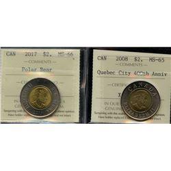 2017 $2 Canada - Polar Bear & 2008 $2 Canada Quebec City 400th Anniversary