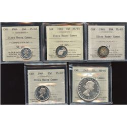 Canada Lot of Decimal - 5 ICCS Graded Coins with Ultra Heavy Cameo