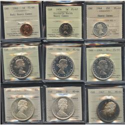 1964 Canada Lot of Decimal - 9 ICCS Graded Coins with Heavy Cameo