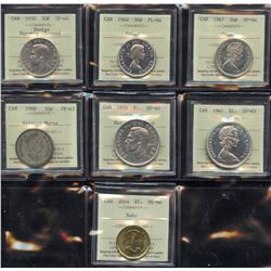 Fifty Cents and Dollar ICCS Graded Collection of 7 Coins