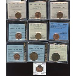 Canada One Cent Certified Errors - Lot of 10