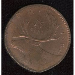 1980 Canada Twenty-Five Cents Struck on Foreign Planchet