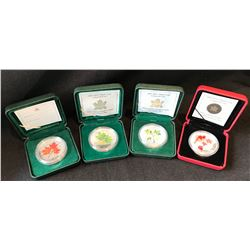 Silver Maple Leaf Coloured Coin Lot (4)