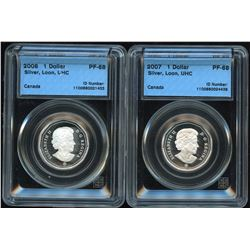 2007 & 2008 Proof Silver Loons