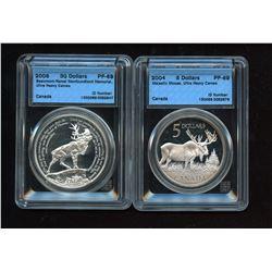 2004 Majestic Moose $20 & 2006 Beaumont-Hamel Newfoundland Memorial $30 Silver Coins