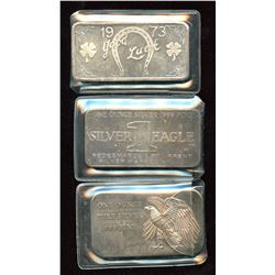 1971 Silver Eagle, Great Lakes, Independence .999 Fine Silver Art Bars