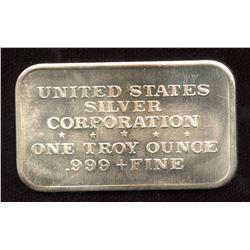 1973 Vintage United States Corporation 1oz Silver Art Bar (TAX Exempt)