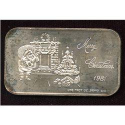 1981 Merry Christmas 1oz silver Art Bar (TAX Exempt)