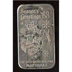 1983 Season's Greetings 1oz Silver Art Bar (TAX Exempt)
