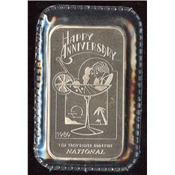 1989 Happy Birthday 1oz Silver Art Bar (Tax Exempt)