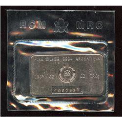 Vintage Royal Canadian Mint 1oz Fine Silver Bar 'F' Series (TAX Exempt)