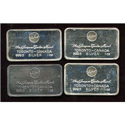 Lot of 4 Jacques Cartier Mint 1oz Silver Bar Collection (TAX Exempt)
