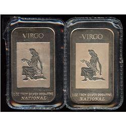 2 x Virgo 1oz Fine Silver National Art Bar (Tax Exempt) - Different Backs