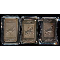 3 x Aries 1oz Fine Silver Federal & National Art Bars (Tax Exempt)