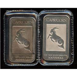 2 x Capricorn 1oz Fine Silver Federal & National Art Bar (Tax Exempt)