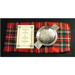 "PEWTERMILL CRAFTS 5"" 'Scottish Love' Toasting Quaich New in Box"