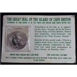 1967 Canada Seal of Cape Breton, Pure Silver Centennial Medallion.