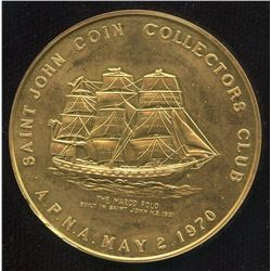 Saint John Coin Collectors Club Gold Medal, 1970