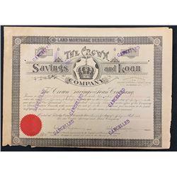Crown Savings & Loan Co. Land Mortgage Debenture, 1918.